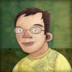 Portrait of Abizer Nasir in graphic cartoon style